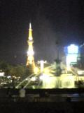 夜のテレビ塔と噴水